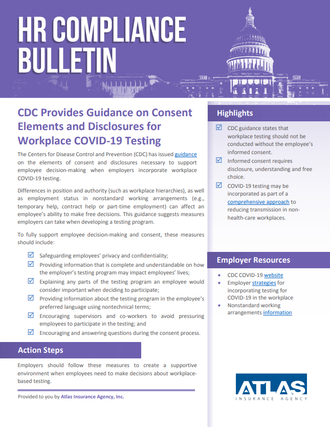 CDC Guidelines for COVID-19 workplace testing